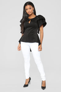 For The Fame Ruffle Top - Black