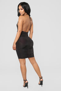 Golden Girl Mini Dress - Black