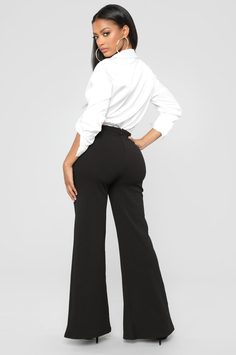 Flare My Button Pants - Black