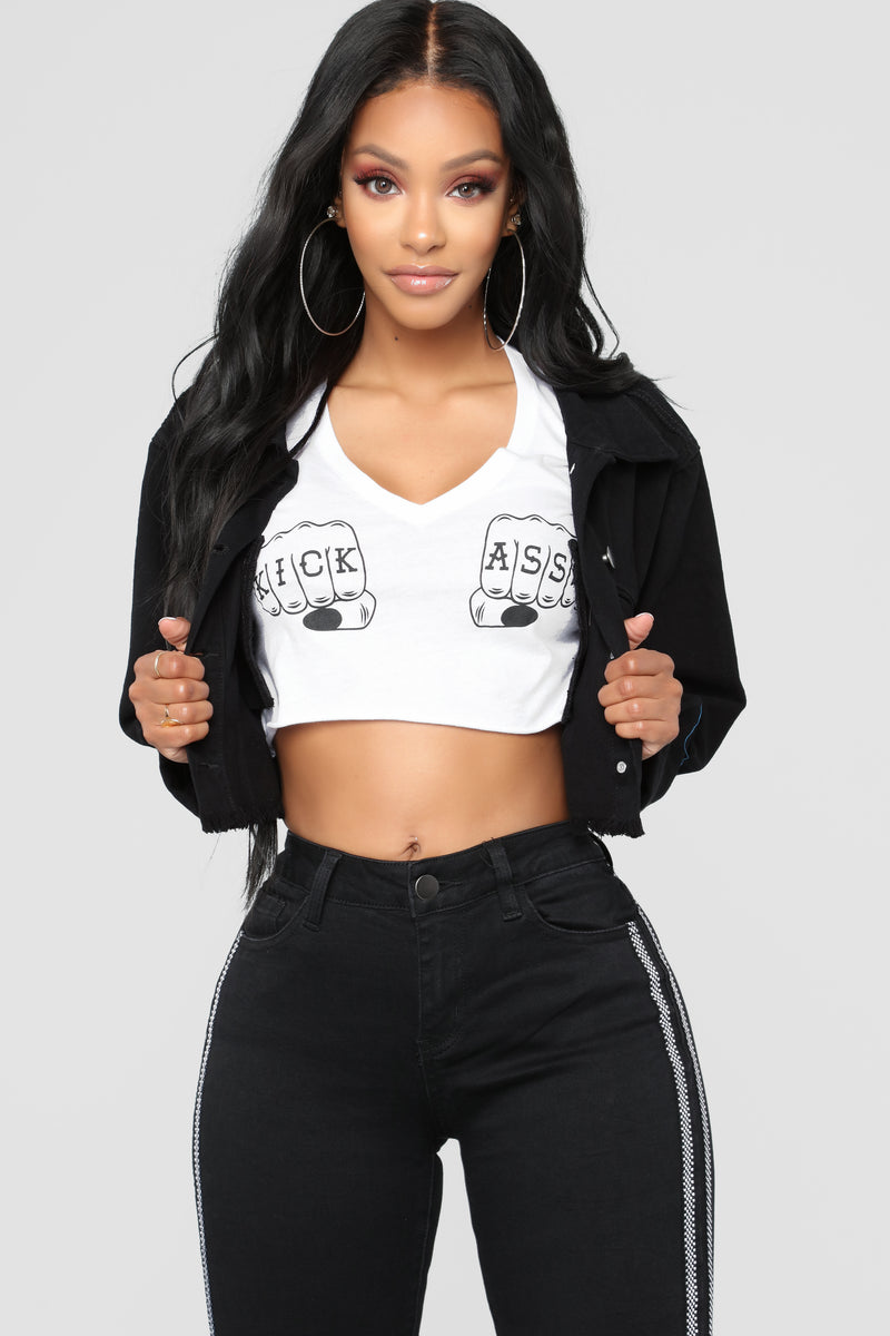 Star Player Cropped Jacket - Black