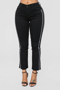 Charlie Checkered Boyfriend Jeans - Black