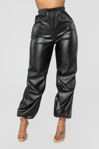 Fly Like Ky Vegan Leather Joggers - Black