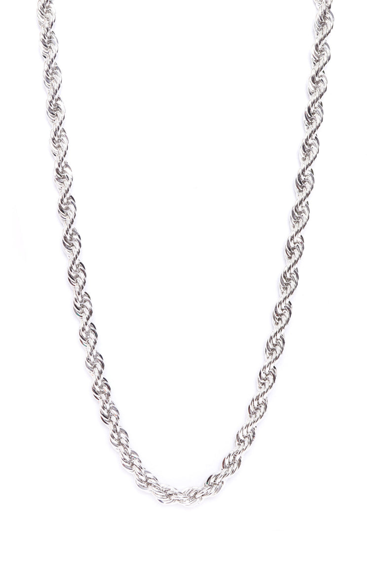 Act Up Rope Chain Necklace - Silver