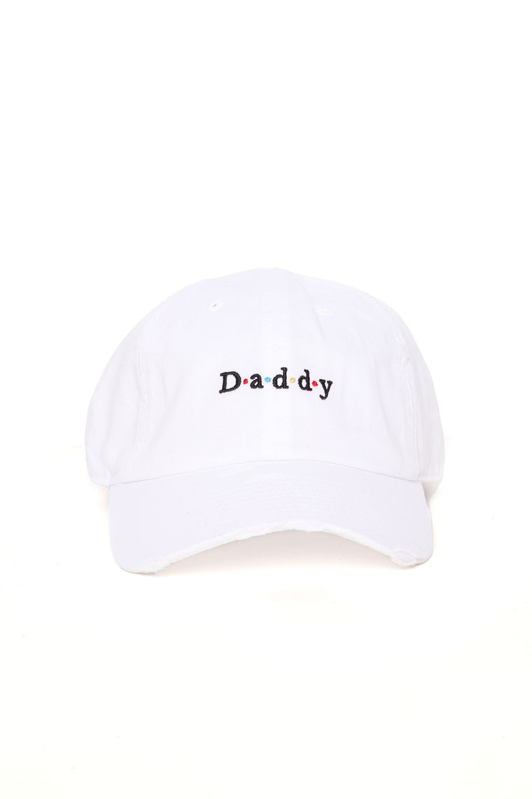 Call Me Daddy Distressed Dad Hat - White