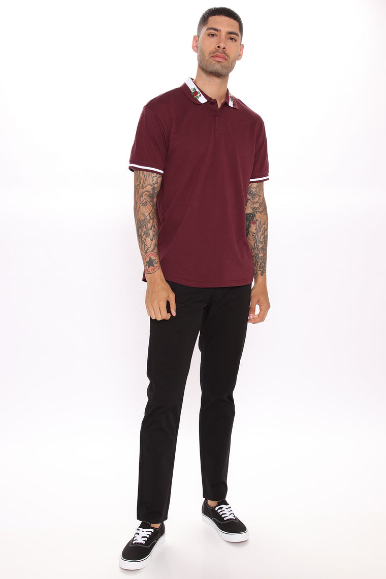 Rick Short Sleeve Polo - Burgundy
