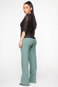 Not Messin' Button Flare Pants - Sage