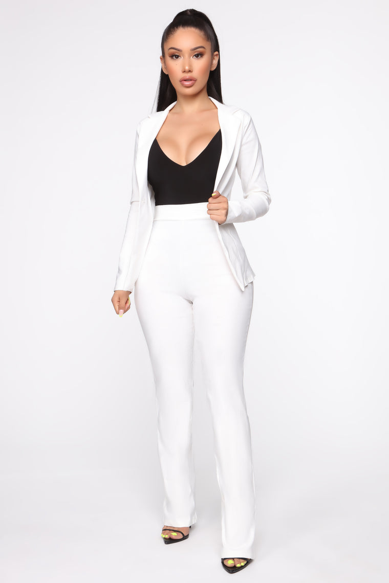 Milan Wide Leg Suit - Off White