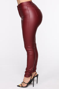 Coated With Love Skinny Pants - Red Angle 4