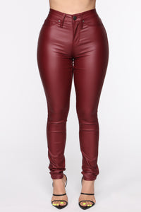 Coated With Love Skinny Pants - Red Angle 2