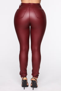 Coated With Love Skinny Pants - Red