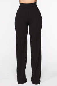 Victoria High Waisted Dress Pants - Black Angle 2