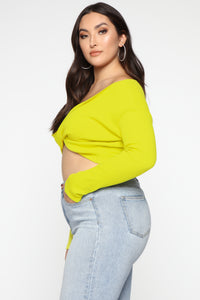 Twisted Sista Top - Neon Yellow Angle 8