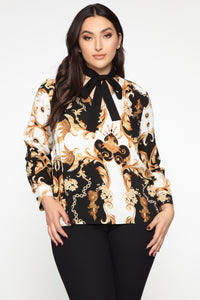 At The Top Of Your Game Blouse - Black/combo
