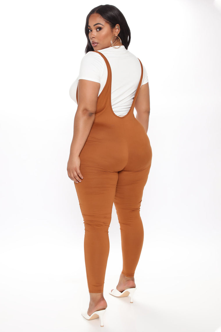 Stacey Overall Jumpsuit - Cognac