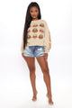 Wild Kisser Long Sleeve Top - Taupe/combo