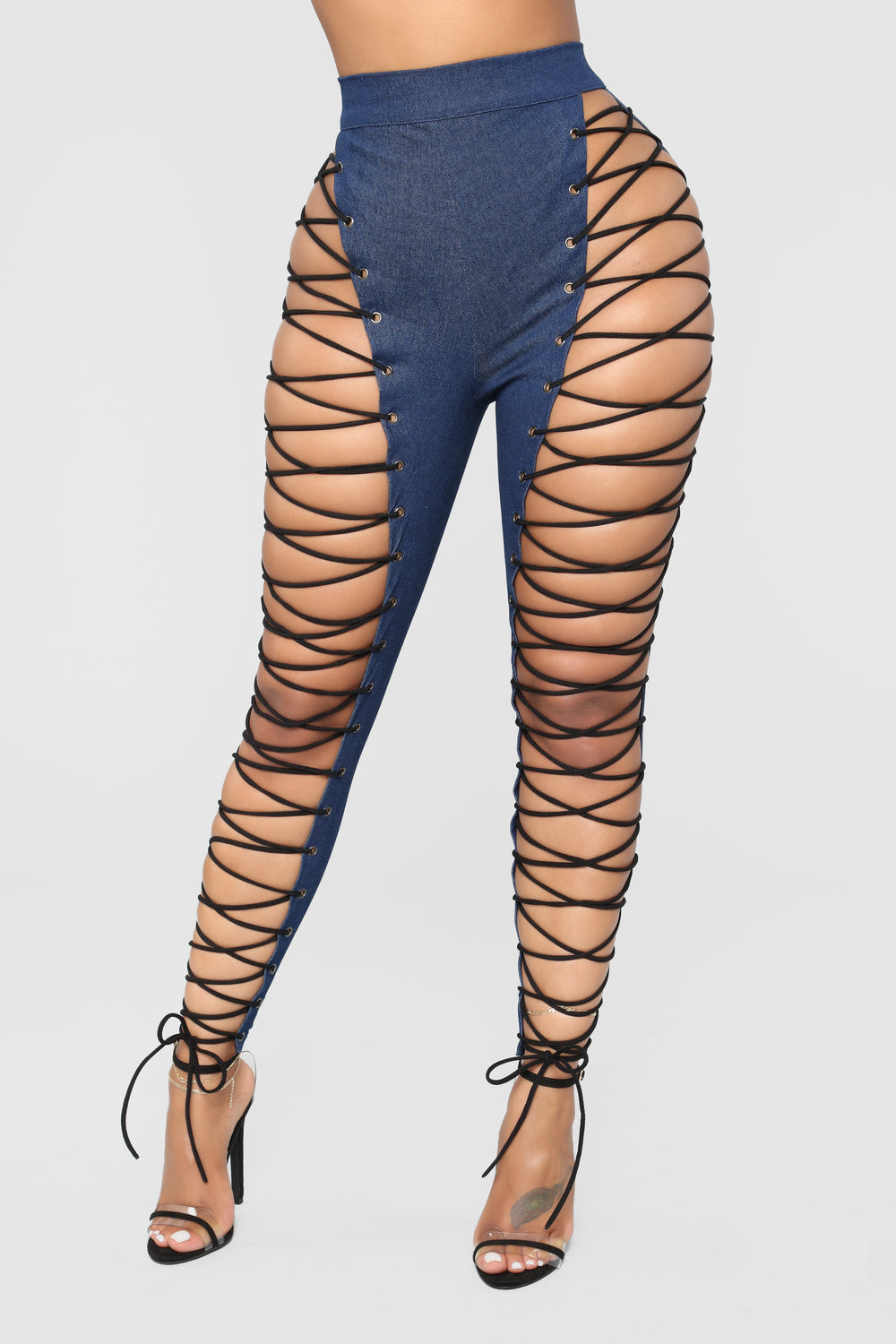Up For Anything Lace Up Jeans - Dark Denim