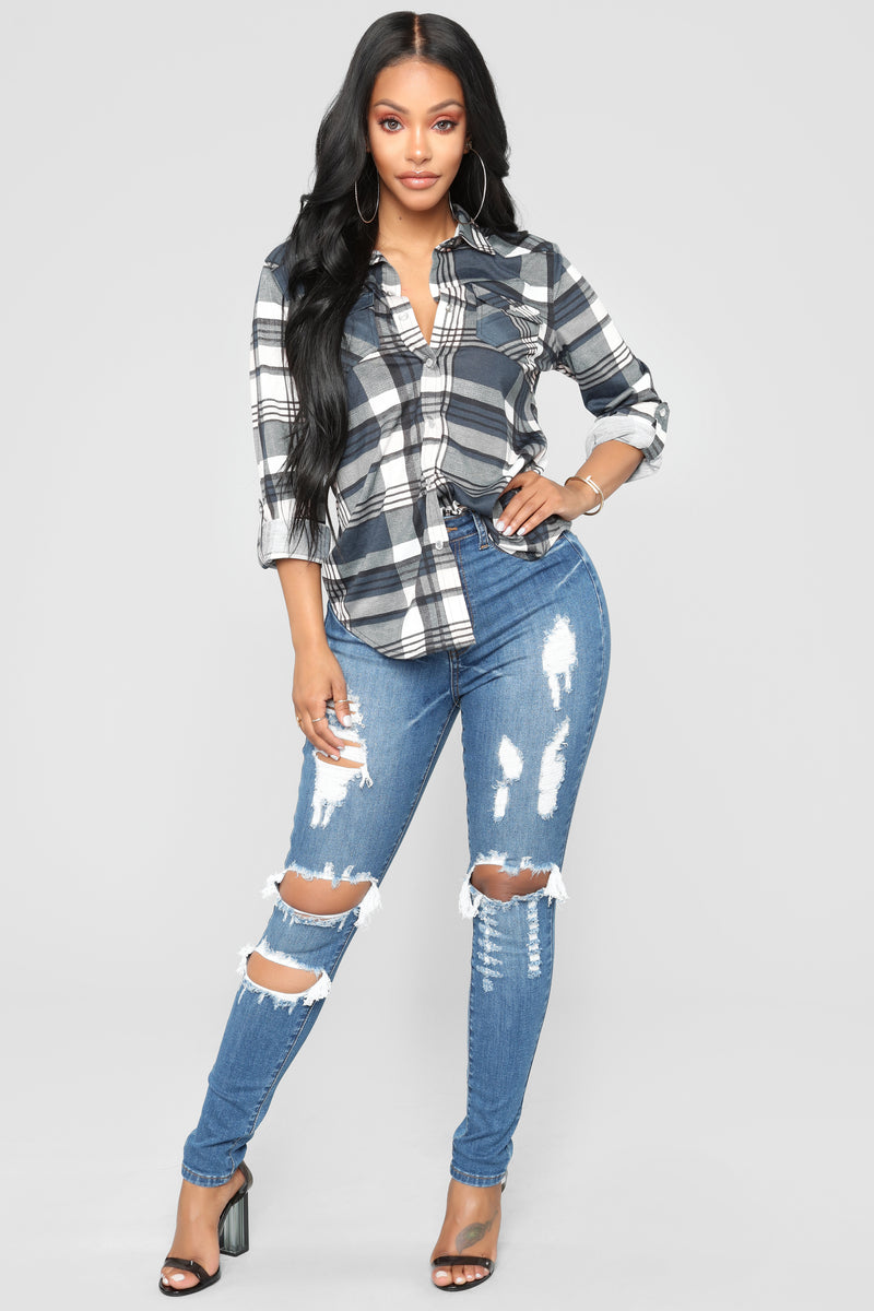 Lounge Affair Navy Plaid Top - Navy/Combo
