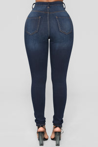 Keep It On The Down Low Skinny Jeans - Dark Denim