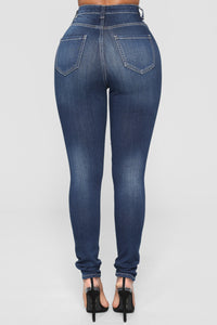 On The Level High Rise Distressed Jeans - Dark Denim