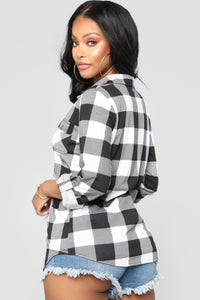 Lounge Affair Black Plaid Top II - Black/White