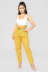 pay-day-slay-day-paper-bag-waist-pants---mustard by fashion-nova