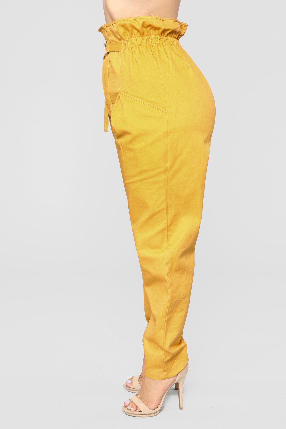 Pay Day Slay Day Paper Bag Waist Pants - Mustard