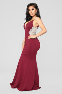 Imperial Beading Dress - Wine