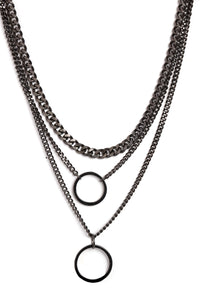 O My Layered Necklace - Gun Metal