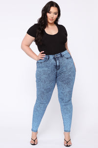 Slow It Down High Rise Skinny Jeans - Blue