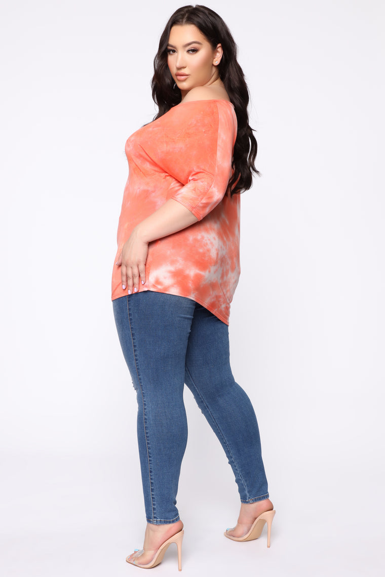 To Be Loved Off Shoulder Top - Orange/Combo