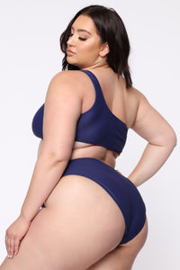 One Side Of The Story Ribbed Bikini - Navy Angle 6
