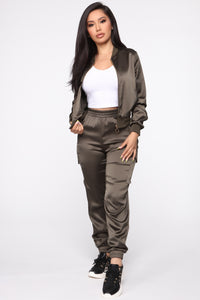 Satin Girl High Rise Joggers - Olive Angle 1