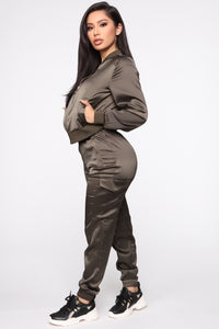 Satin Girl High Rise Joggers - Olive Angle 4