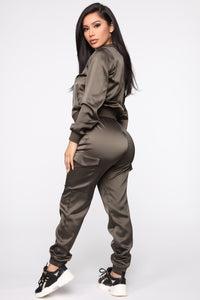 Satin Girl High Rise Joggers - Olive Angle 6