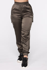 Satin Girl High Rise Joggers - Olive Angle 2