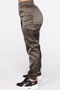 Satin Girl High Rise Joggers - Olive Angle 3