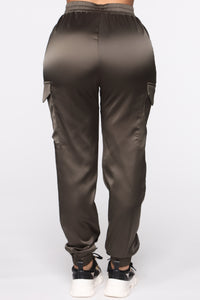 Satin Girl High Rise Joggers - Olive Angle 5