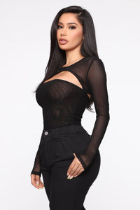 I'm Guilty Mesh Bodysuit - Black