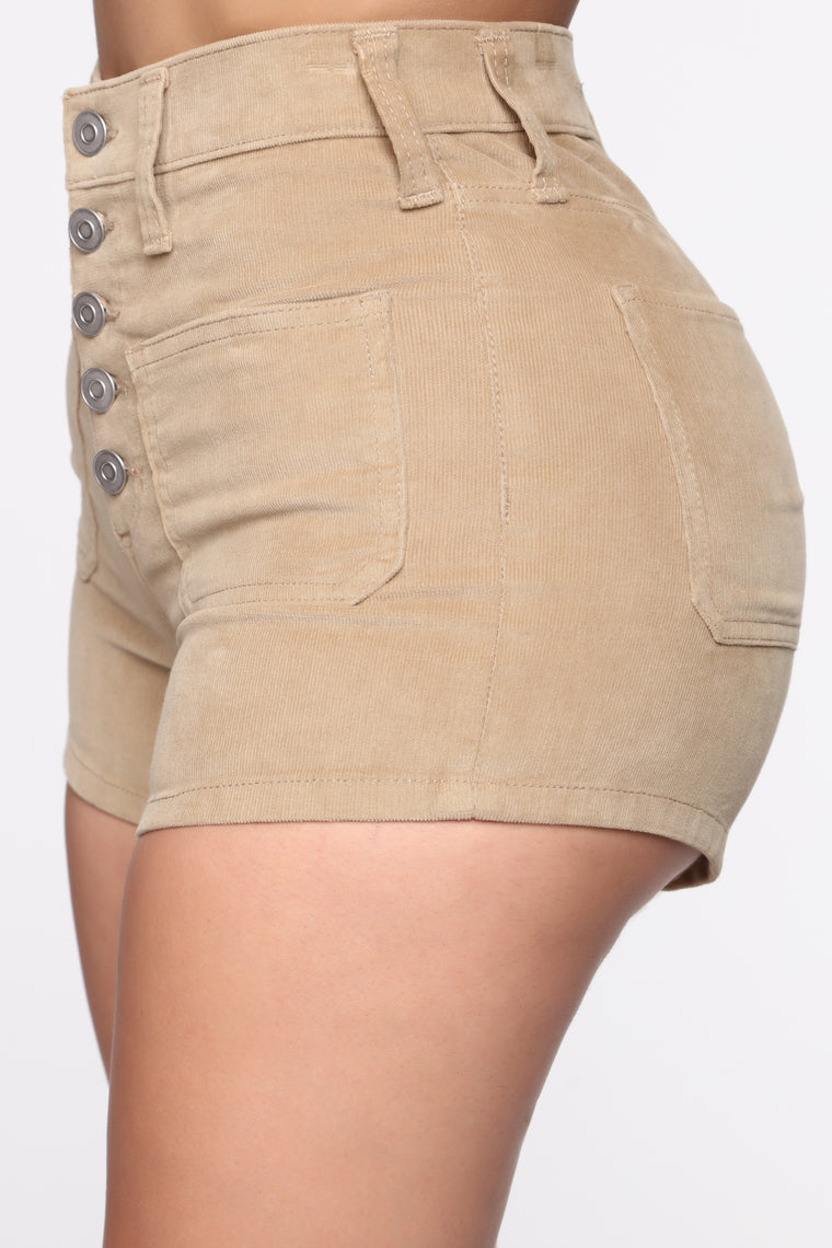 Got Me Exposed Button Corduroy Shorts - Tan