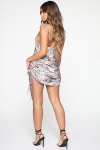 Feisty Attitude Snake Print Mini Dress - Pink/Combo