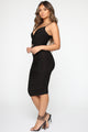 You're My Muse Belted Midi Dress - Black