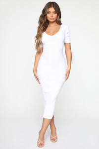 Kayla Sweater Dress - White