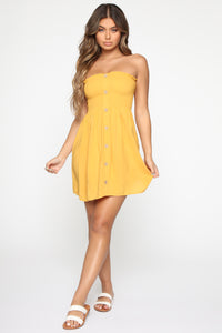 Swing Baby Smocked Mini Dress - Mustard