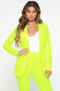 Payin' It Forward Blazer Set - Neon Yellow