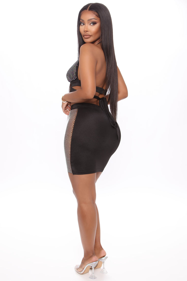 It's My Party Rhine Stone Skirt Set - Black