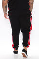 Mateo Track Pant - Black/Red