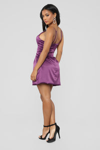 Selena Satin Dress - Purple
