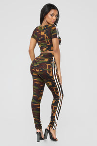 Camo Queen Lounge Set - Olive