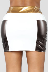 Boombastic Colorblock Skirt - Brown/Combo