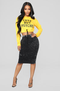 Krystelle Mineral Wash Skirt - Black